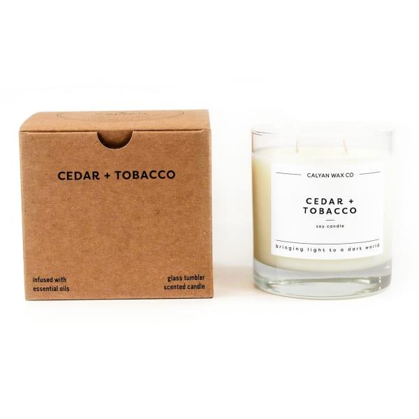 Calyan Wax Co Cedar/Tobacco Soy Wax Candle Glass Tumbler