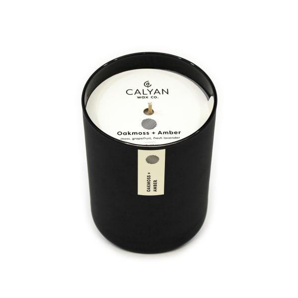 Calyan Wax Co Oakmoss/Amber Soy Wax Candle Black Tumbler