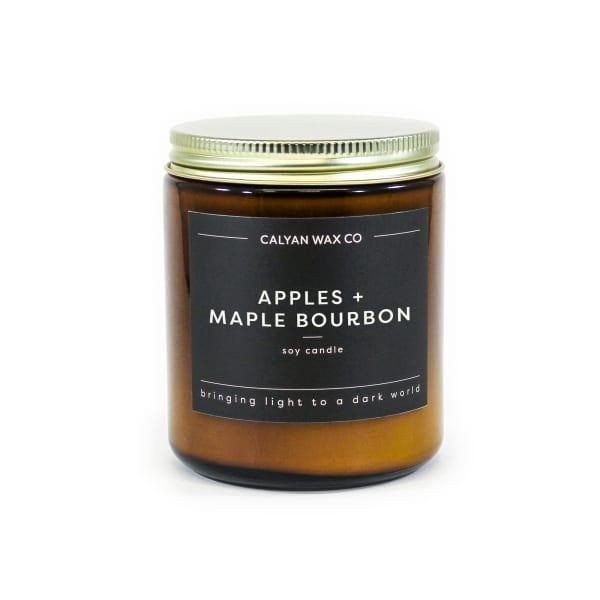 Calyan Wax Co Apples/Maple Bourbon Soy Wax Candle Amber Jar
