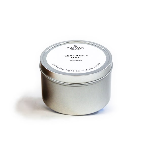 Calyan Wax Co Leather/Oak Soy Wax Candle Tin