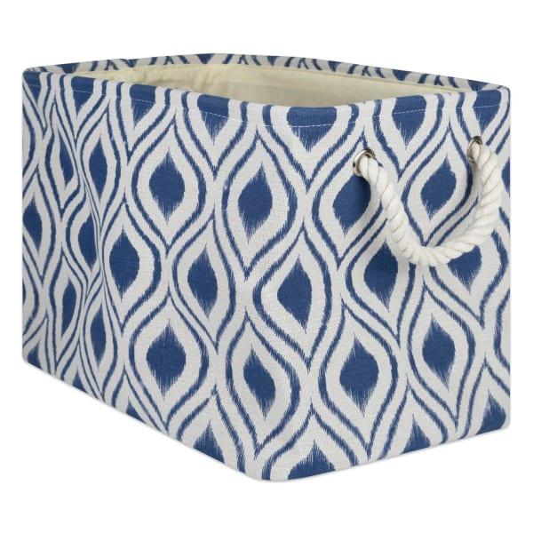 Polyester Storage Bin Ikat French Blue Rectangle Large 17.5x12x15