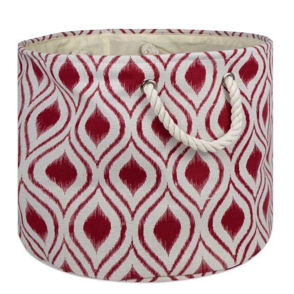 Polyester Storage Bin Ikat Barn Red Round Large 15x16x16