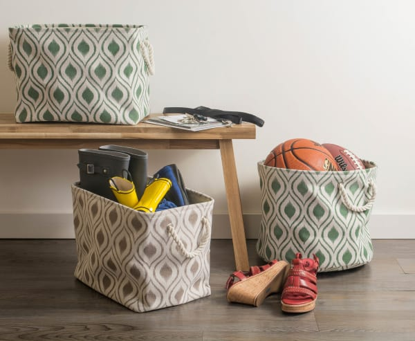Polyester Storage Bin Ikat Artichoke Round Medium 12x15x15