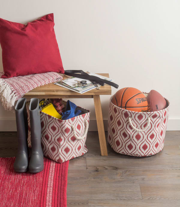 Polyester Storage Bin Ikat Barn Red Round Large 15x16x16