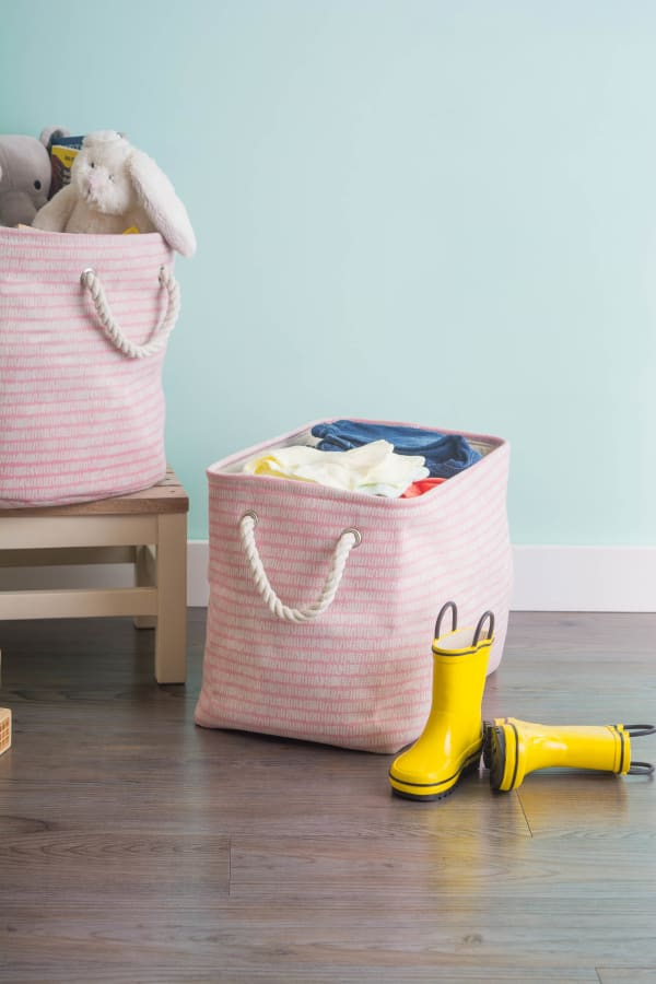Polyester Storage Bin Keeping Score Pink Sorbet Round Medium 12x15x15