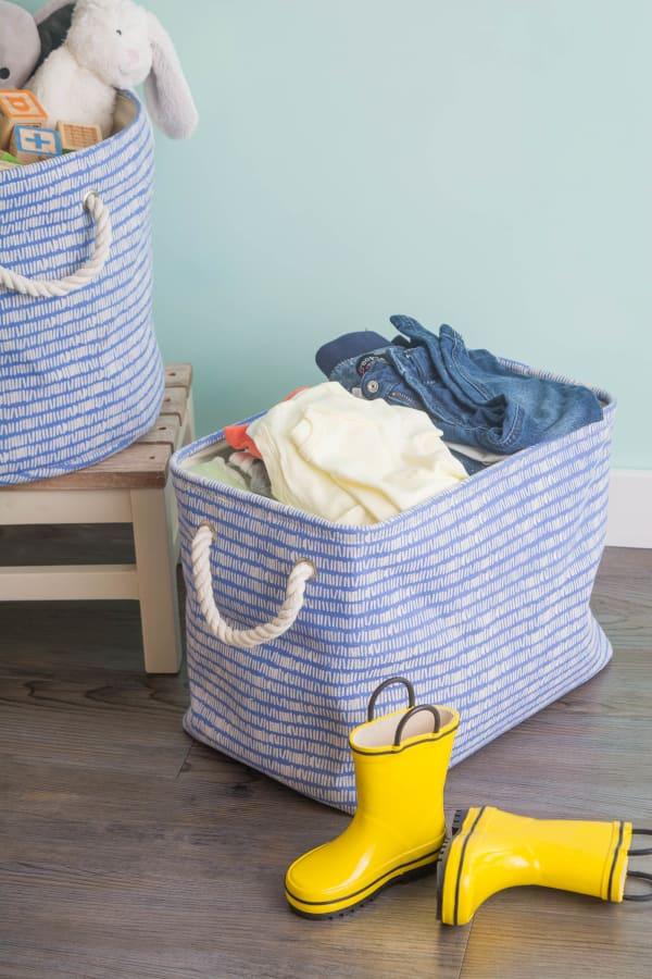 Polyester Storage Bin Keeping Score Bright Blue Rectangle Large 17.5x12x15