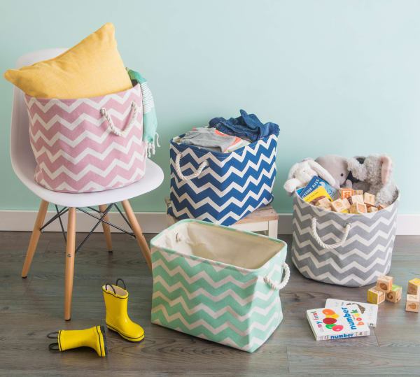 Polyester Storage Bin Chevron Rose Round Medium 12x15x15