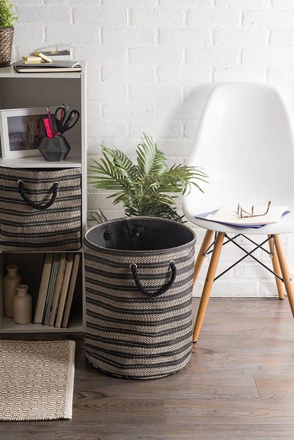 Paper Storage Bin Basketweave Stone/Black Rectangle Medium 15x10x12