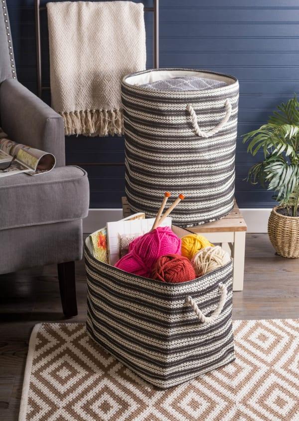 Paper Storage Bin Basketweave Stone/Black Rectangle Large 17x12x12