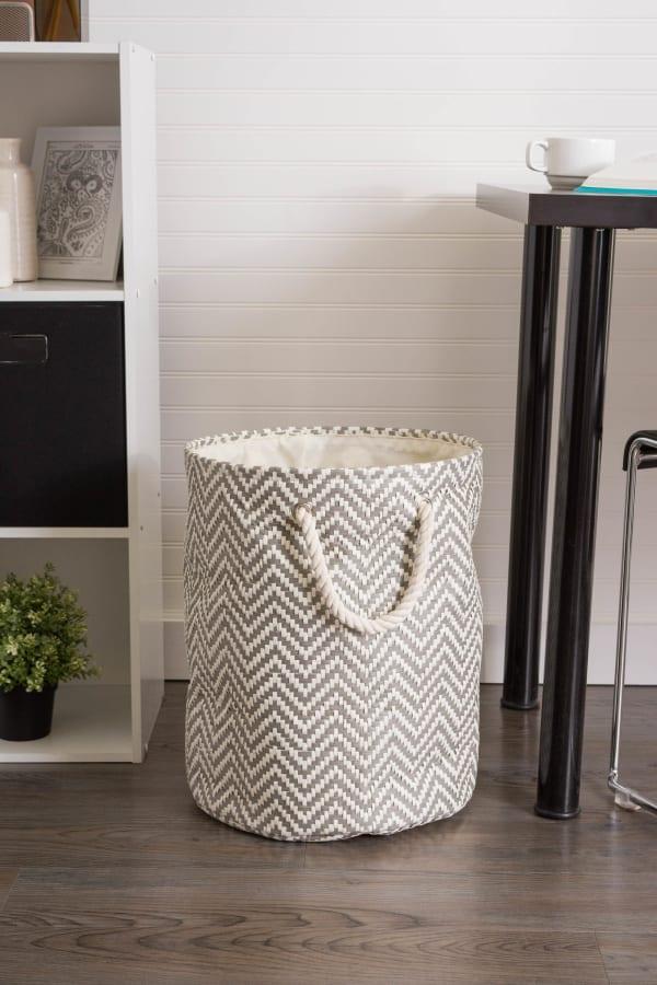 Paper Storage Bin Chevron Stone Round Medium 13.75x13.75x17