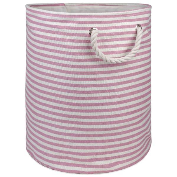Paper Storage Bin Pinstripe Rose Round Large 20x15x15