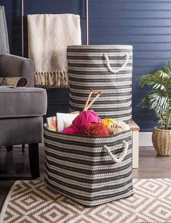 Paper Storage Bin Basketweave Black/White Round Medium 13.75x13.75x17