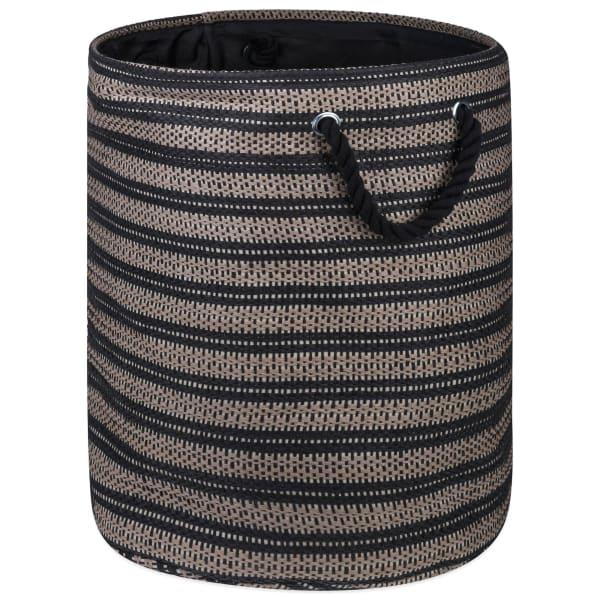 Paper Storage Bin Basketweave Stone/Black Round Large 20x15x15