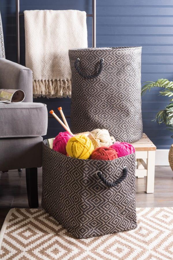 Paper Storage Bin Diamond Basketweave Stone/Black Round Large 20x15x15