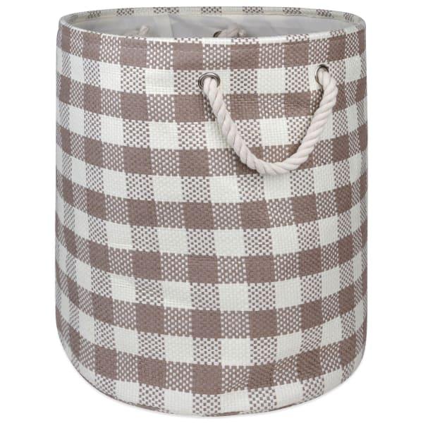 Paper Storage Bin Checkers Stone Round Large 20x15x15