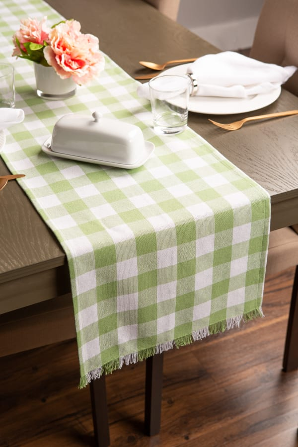 """72"""" Spring Green Check Table Runner with Fringe"""