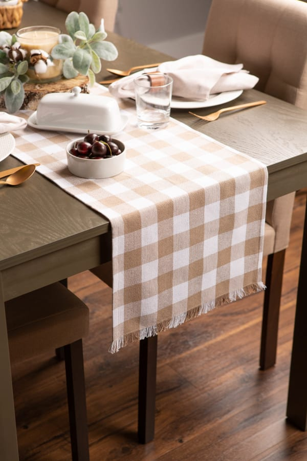 Stone Heavyweight Check Fringed Table Runner 14x108
