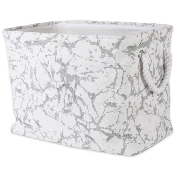 Polyester Storage Bin Marble White Rectangle Large 17.5x12x15