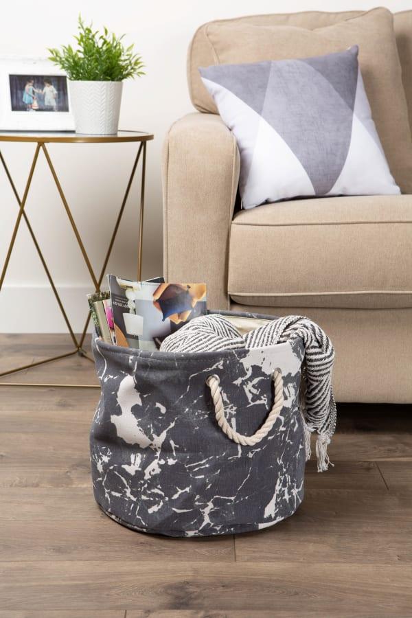 Polyester Storage Bin Marble Black Round Medium 12x15x15