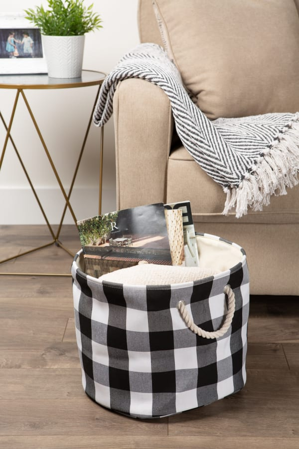 Polyester Storage Bin Buffalo Check White/Black Round Medium 12x15x15