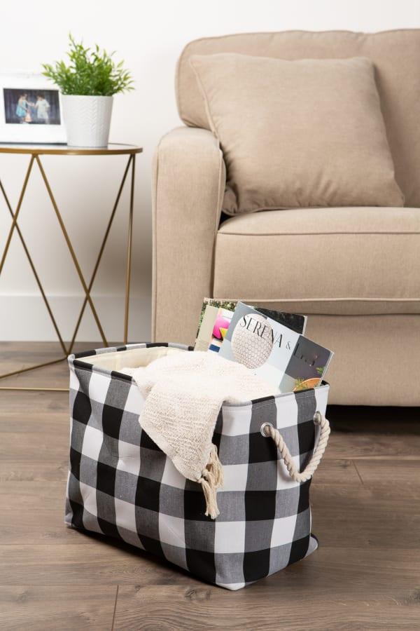 Polyester Storage Bin Buffalo Check White/Black Rectangle Medium 16x10x12
