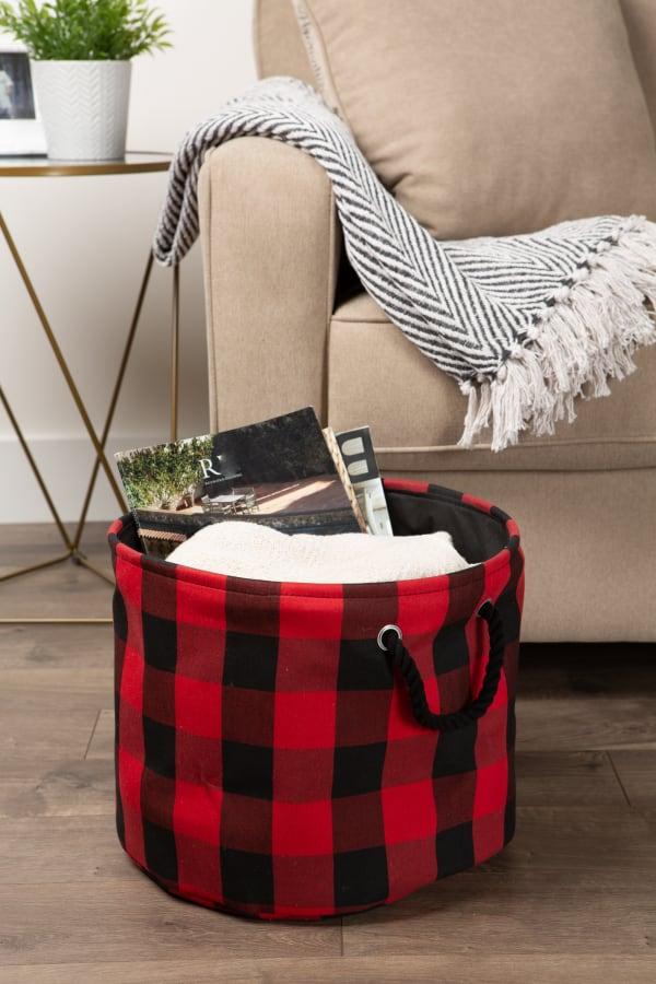 Polyester Storage Bin Buffalo Check Red/Black Round Medium 12x15x15