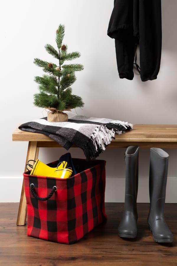 Polyester Storage Bin Buffalo Check Red/Black Rectangle Large