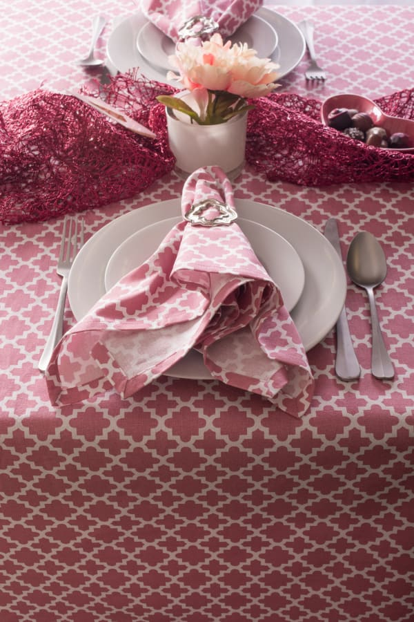 "Pink Rose Geometric 60X120"" Tablecloth"