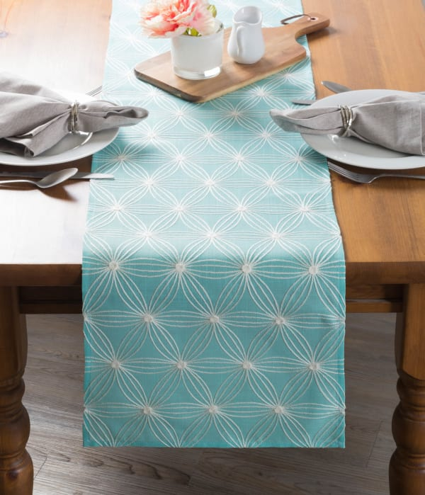 Aqua Base Embroidered Flowers Table Runner