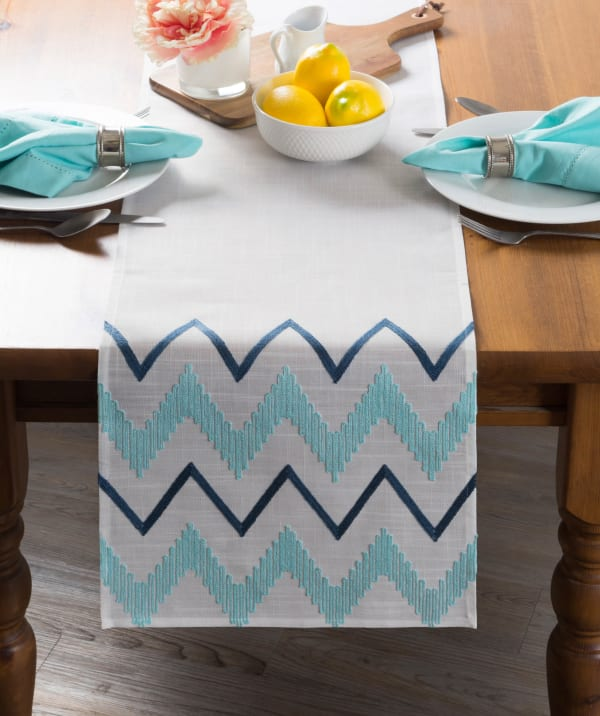 Off White Base Embroidered Chevron Table Runner