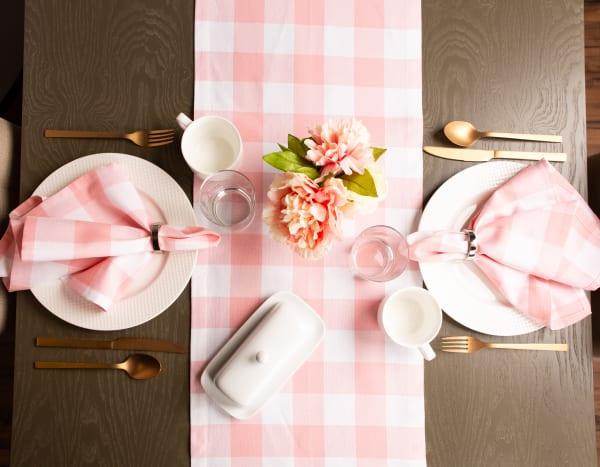"72"" Picnic Check Pink Table Runner"