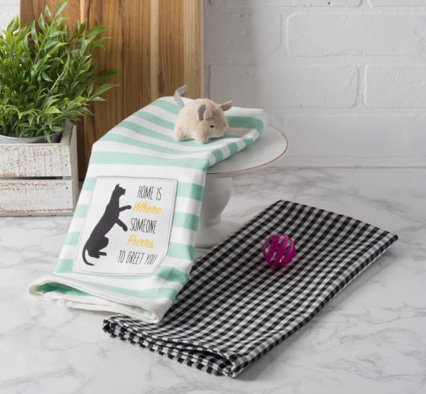 Cat Greeting Embroidered Dishtowel Set of 2