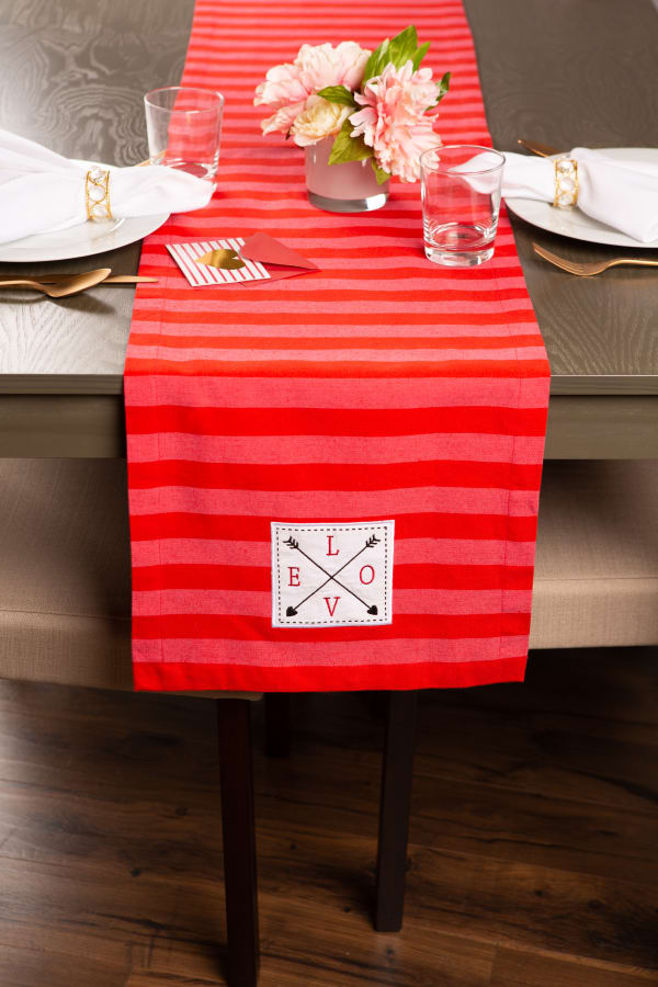 """Valentine's Day Red Crossed Love 108"""" Table Runner"""