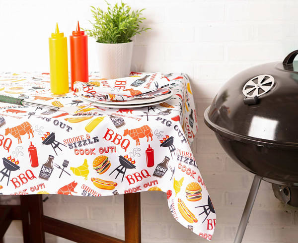 BBQ Fun Print Outdoor Tablecloth 60x84