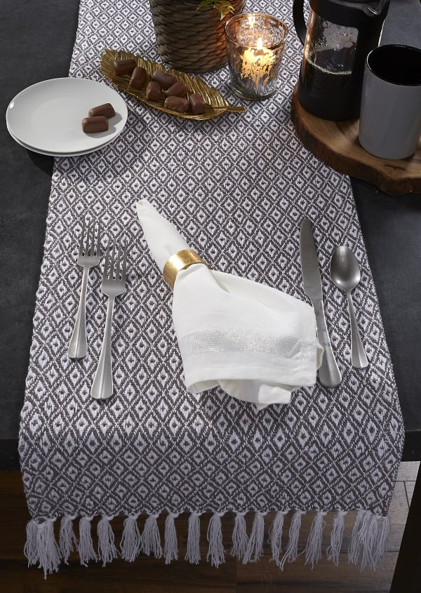 Gray Mini Diamond Table Runner 15x72