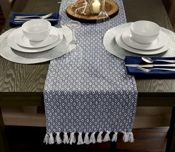 French Blue Mini Diamond Table Runner 15x72