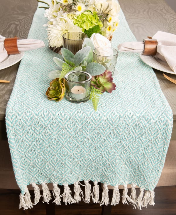 Aqua Diamond Table Runner 15x72