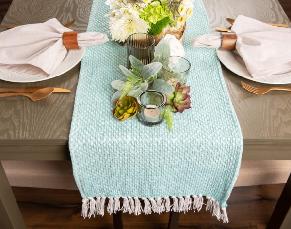 Aqua Chevron Handloom Table Runner 15x72