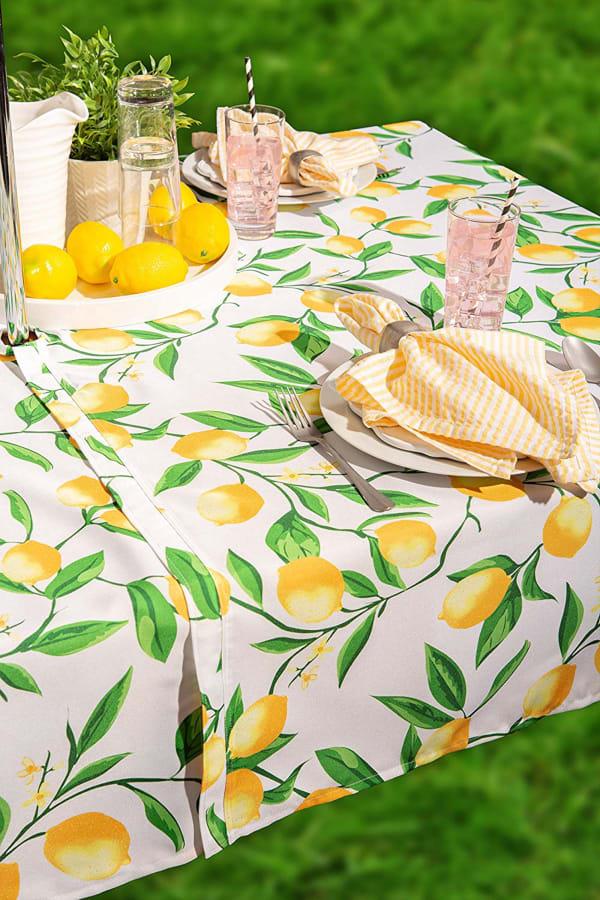 Lemon Bliss Print Outdoor Tablecloth With Zipper 60x84