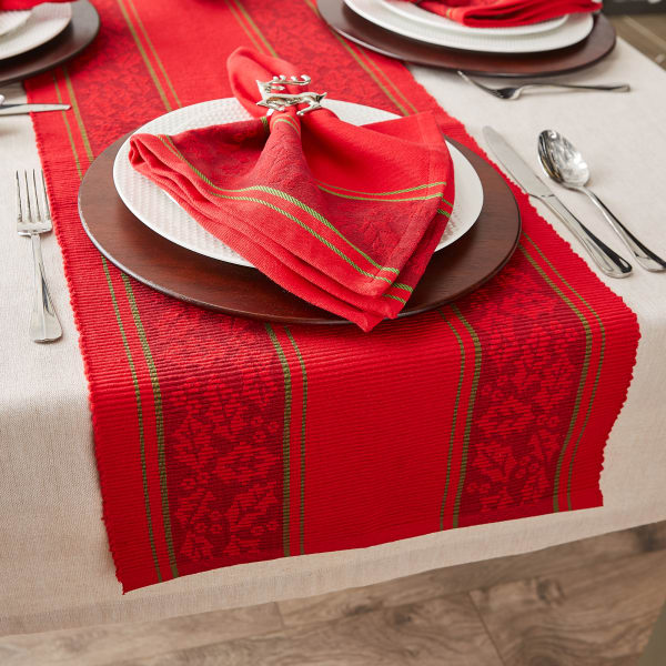 Holly Stripe Jacquard Table Runner 14x108