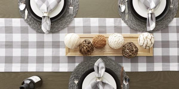 Gray & White Buffalo Check Table Runner 14x108