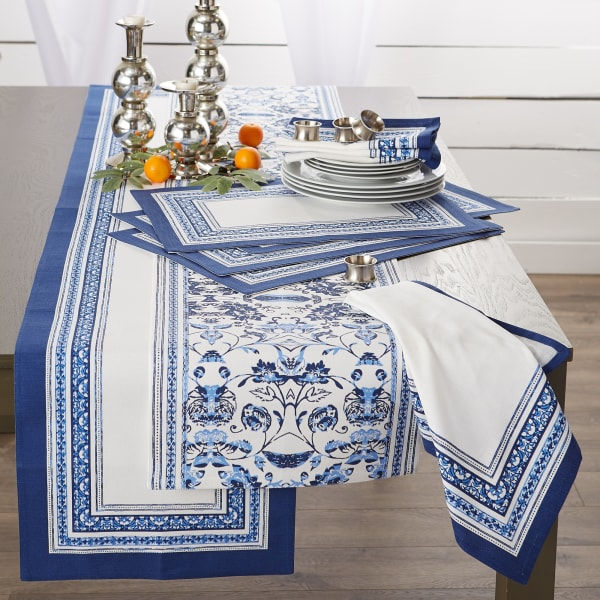 Porto Stripe Print Table Runner 14x108