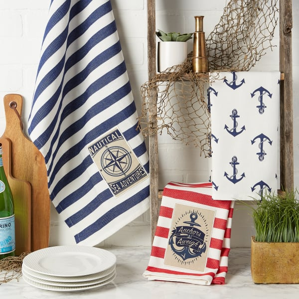 """Maritime Spread Kitchen Towels, 18x28"""", Set of 3"""