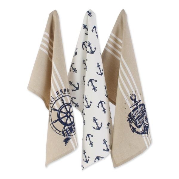 "Seafair Maritime Spread Kitchen Towels, 18x28"", Set of 3"