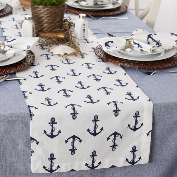 Anchors Away Print Table Runner 14x72
