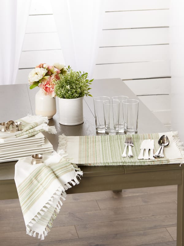 """Thyme Fringed Stripe Placemats, 13x20"""", Set of 6"""