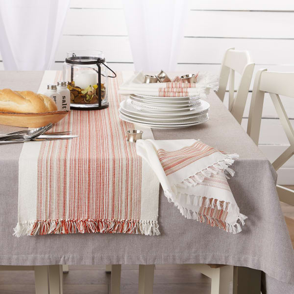 Pimento Striped Fringed Table Runner 14x72