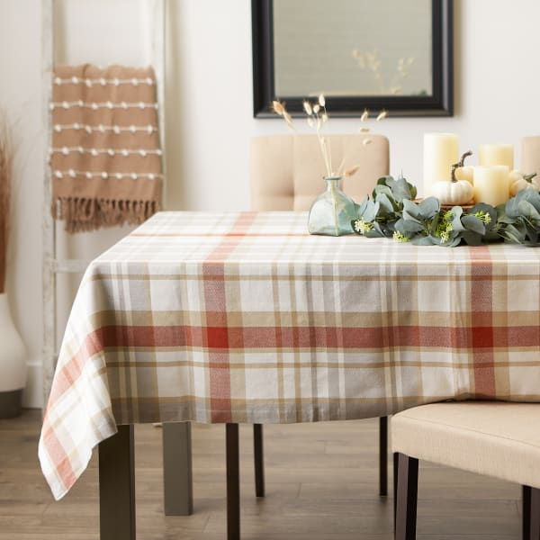 """Thanksgiving Cozy Picnic, Plaid Tablecloth 52x52"""""""