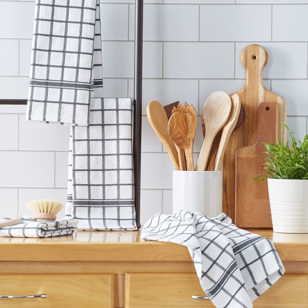 Mineral Gray Windowpane Terry Dishtowel (Set of 4)