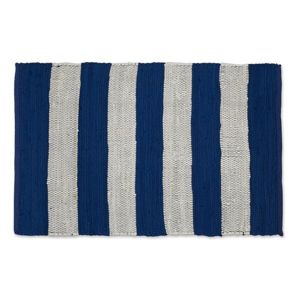 Navy and White Stripe Rag Rug
